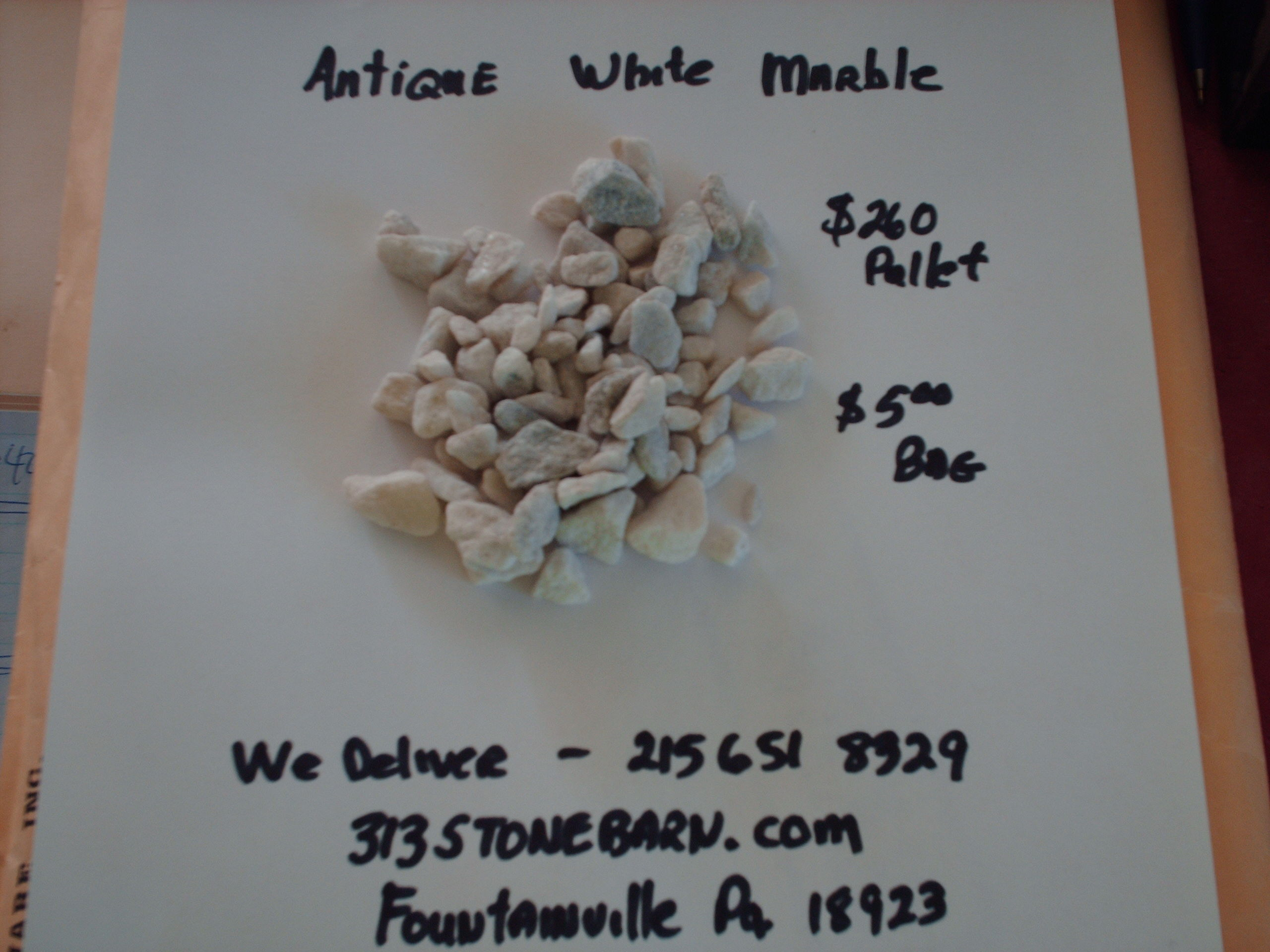 We deliver pallets of these Antique White Marble chips.