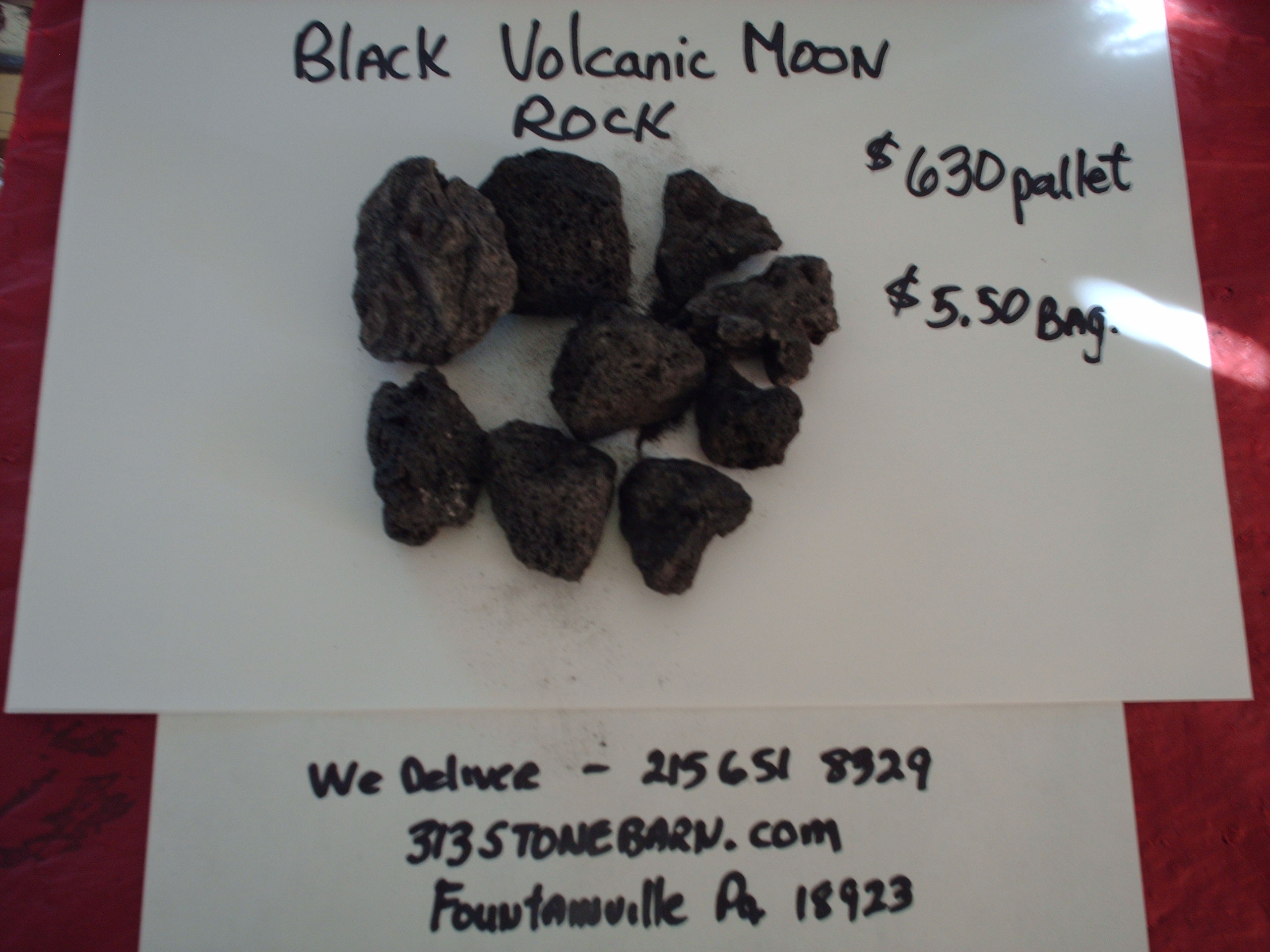 We deliver pallets of these Black Volcanic Moon Rock chips.