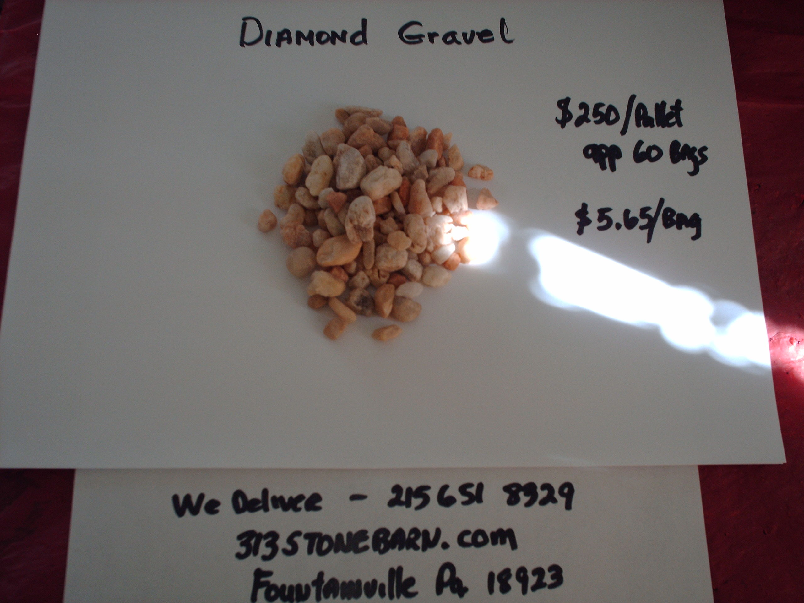 We deliver pallets of these Diamond Gravel chips.