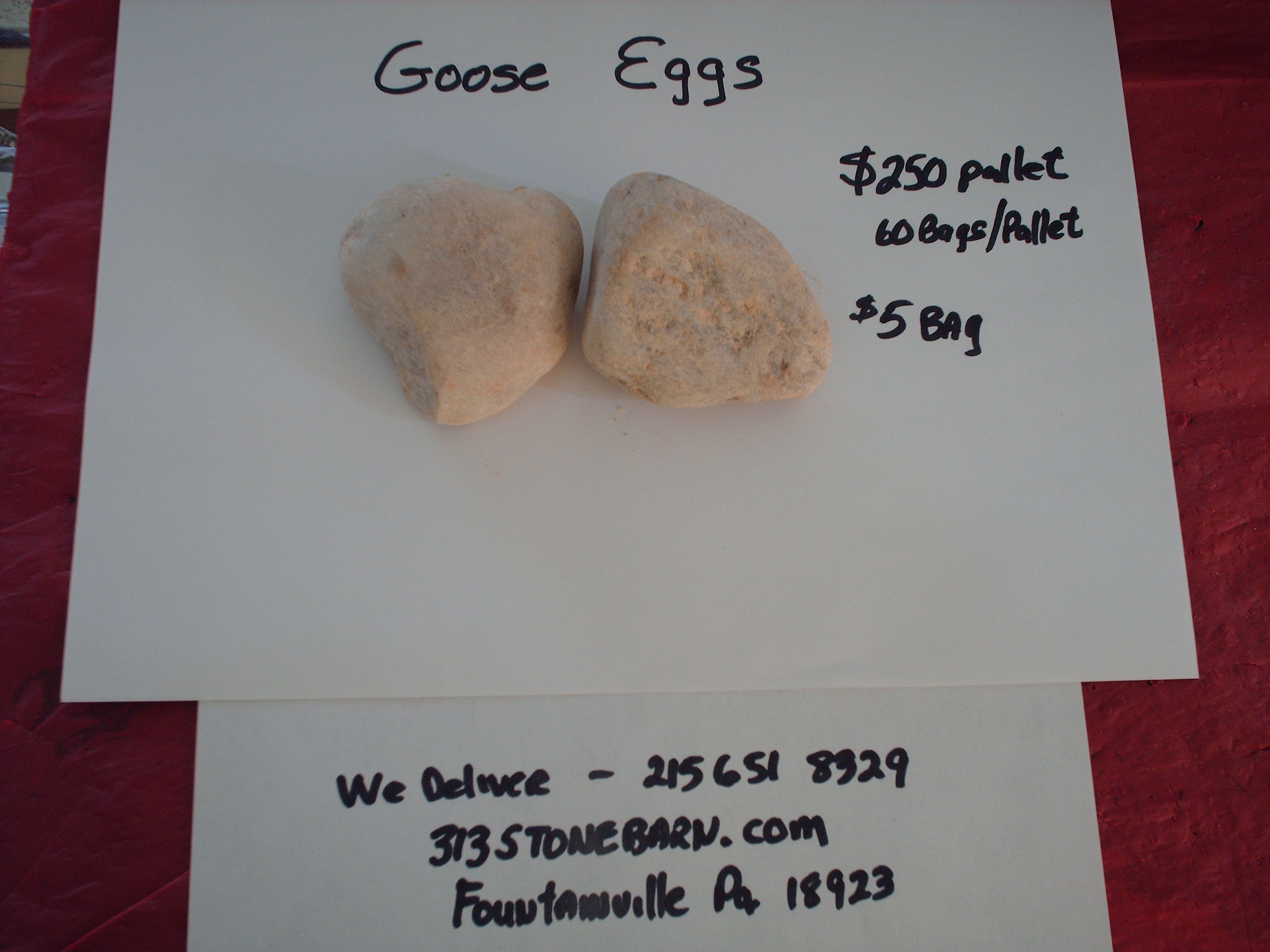 We deliver pallets of these Goose Egg Stones.
