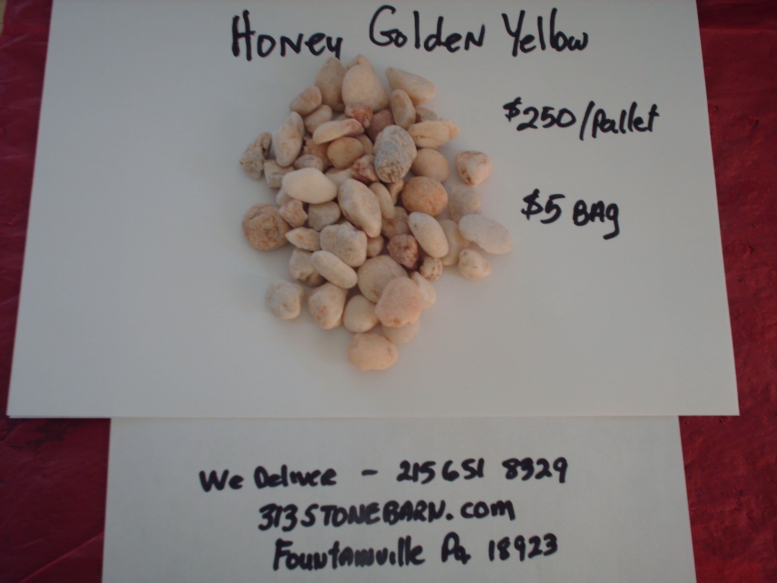We deliver pallets of these Honey Golen Yellow Stones.