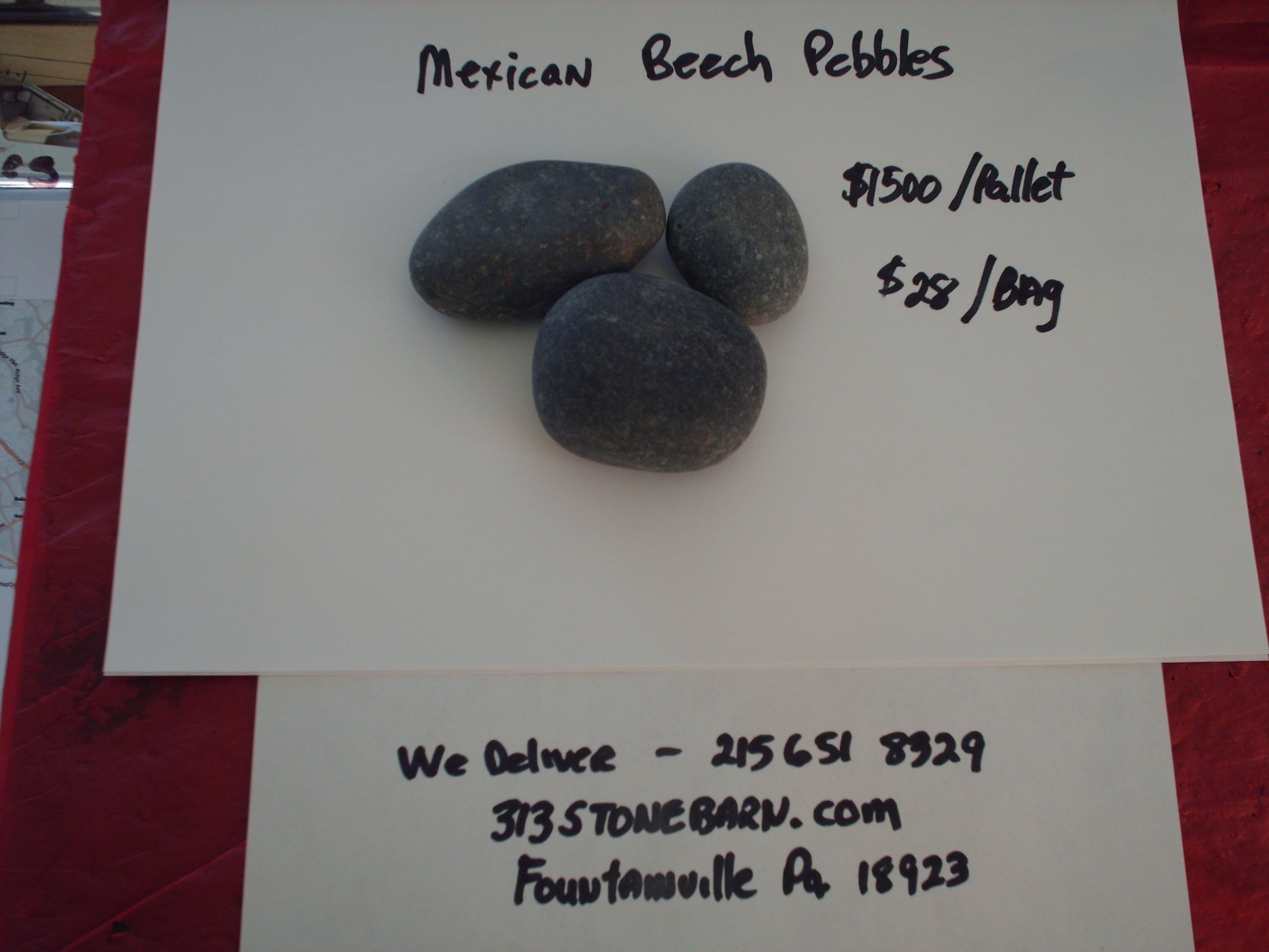 We deliver pallets of these Mexican Beech Pebbles.