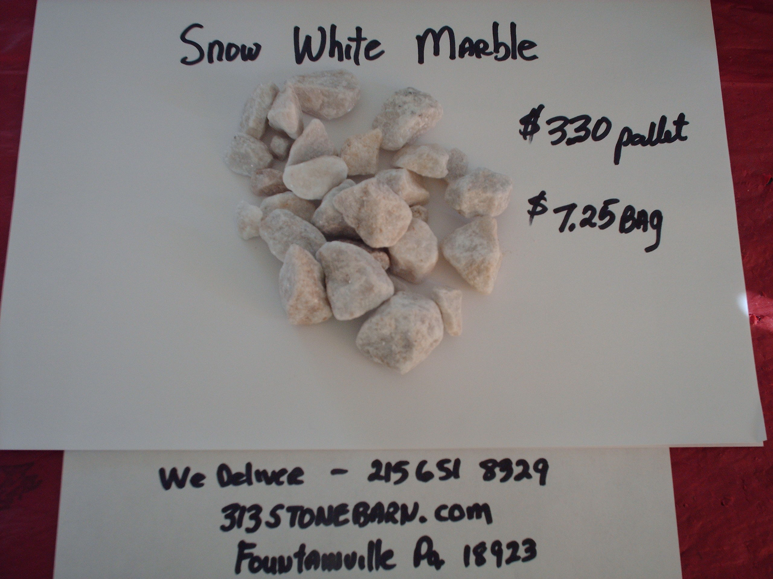 We deliver pallets of these Snow White Marble Chips.